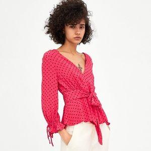 Zara Fuchsia Polka Dot Printed Blouse